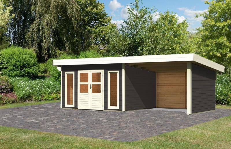 Gartenhaus Salzach 4 Farbe: terragrau mit Schleppdach 3 m Breite; Rückwand, Seitenwand