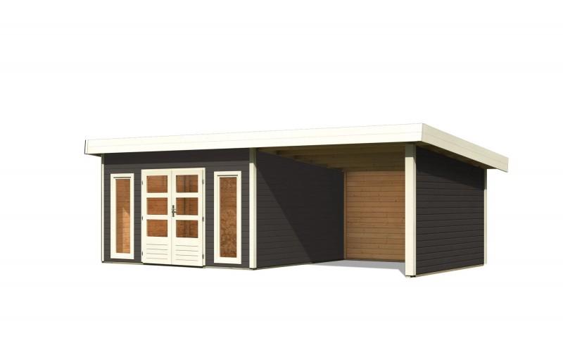 Gartenhaus Salzach 5 Farbe: terragrau mit Schleppdach 3 m Breite; Rückwand, Seitenwand