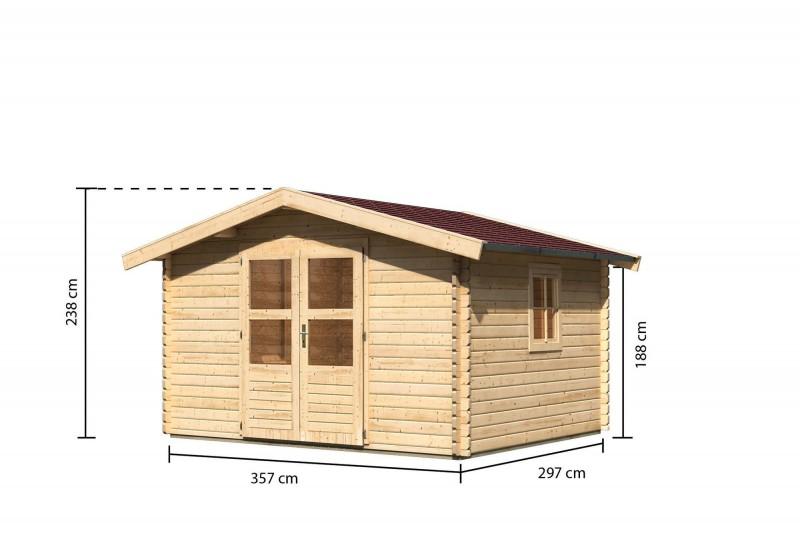 Gartenhaus Blockbohlenhaus Lenne 4 Farbe: naturbelassen inkl. Fußboden und roter Rechteckschindeln