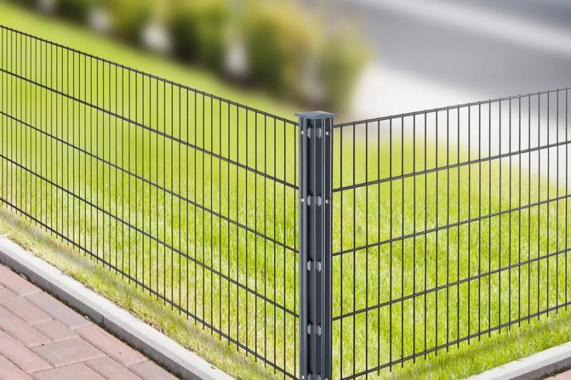 Zaunpfosten Doppelstabgitterzaun Eckpfosten Typ P-fix silbergrau verzinkt - Länge: 1100 mm