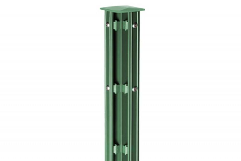 Zaunpfosten Doppelstabgitterzaun Eckpfosten Typ P-fix RAL 6005 moosgrün  - Länge: 2400 mm
