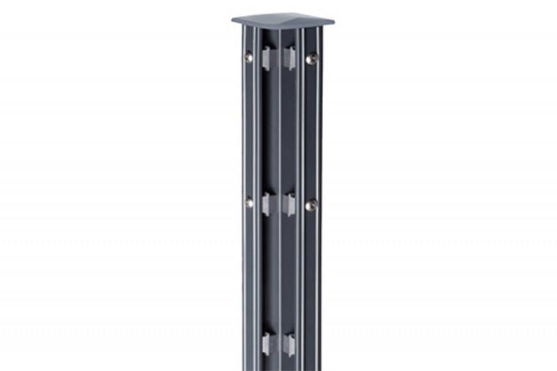 Zaunpfosten Doppelstabgitterzaun Eckpfosten Typ P-fix RAL 7016 anthrazitgrau - Länge: 1700 mm