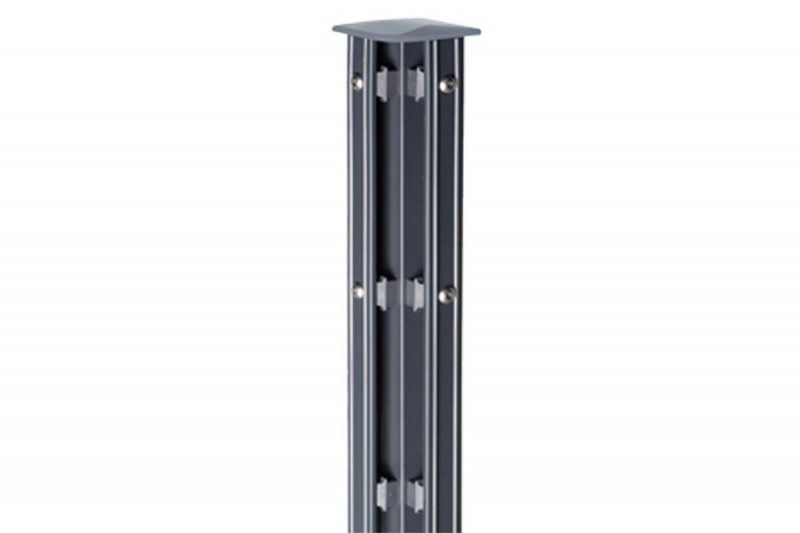 Zaunpfosten Doppelstabgitterzaun Eckpfosten Typ P-fix RAL 7016 anthrazitgrau - Länge: 2000 mm