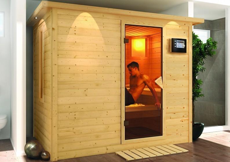 Karibu Massiv Sauna Sonara Energiespartür (Fronteinstieg) 40 mm mit Dachkranz inkl. Ofen 9 KW ext. Steuerung