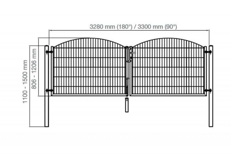 Schmucktor Vario Rezidenz Sydney/Innsbruck 2-flügelig silbergrau verzinkt - Torhöhe: 1206 mm