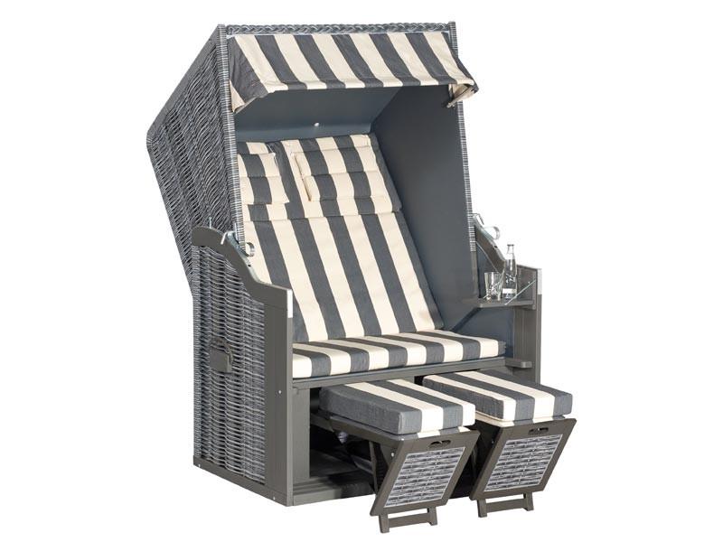 """SonnenPartner Gartenstrandkorb """"Rustikal 34 Z"""" 2-Sitzer, Halbliegemodell Kunststoffgeflecht onix 8 mm,  mit herausnehmbarer Kissengarnitur,  Fußkissen und Nackenkissen, zerlegt im Karton zur Selbstmontage."""