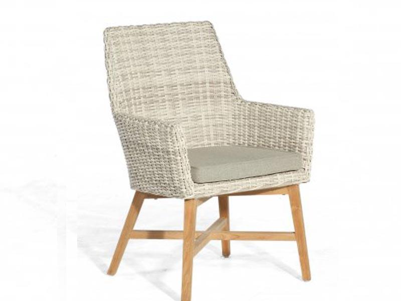 """SonnenPartner Sessel """"Helios""""  Kunststoffgeflecht     white-coral/Alu/Teak incl. Kissen SonnenPartner"""