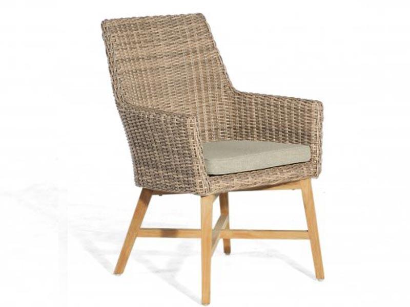 "SonnenPartner Sessel ""Helios""  Kunststoffgeflecht     rustic-stream/Alu/Teak incl. Kissen SonnenPartner"