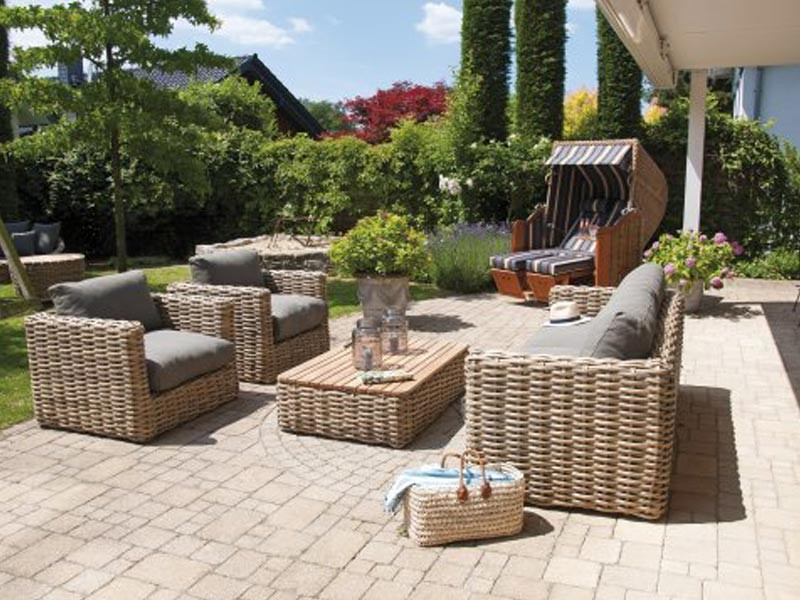 "SonnenPartner Sessel ""Sands"" Light Oaks incl. Kissen"
