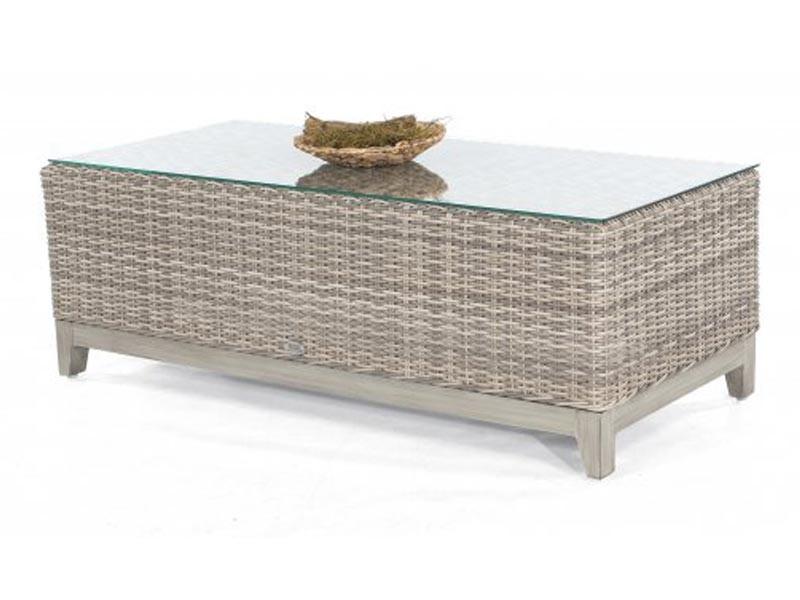 """SonnenPartner Lounge-Tisch """"Thor"""" 130x60 cm Kunststoffgeflecht      white-coral/Alu mit Glasplatte"""