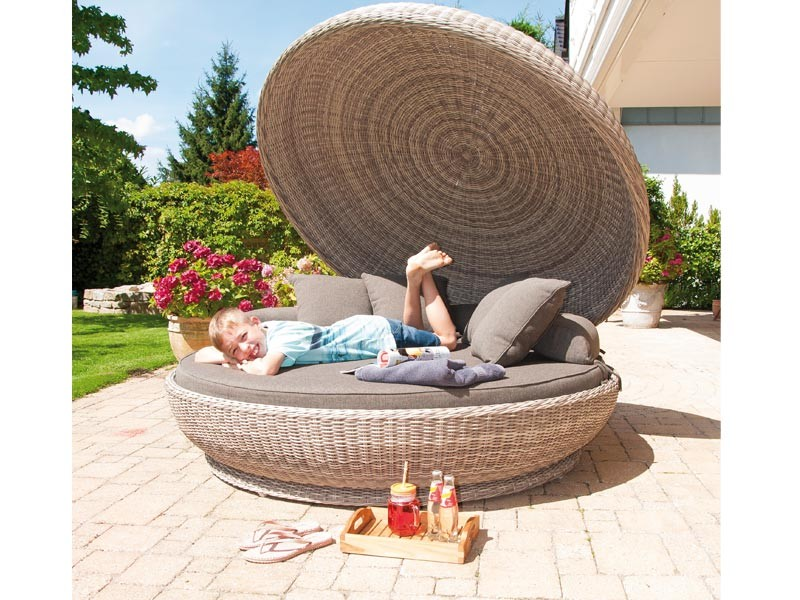 "SonnenPartner Lounge-Insel ""Oyster""Alu/KS-Geflecht white-coral,inkl. Kissen"