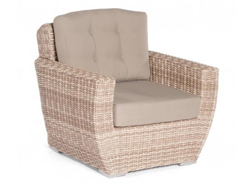 "SonnenPartner Lounge-Sessel ""Royal""  Aluminiumgestell Kunststoffgeflecht antik/weiss"