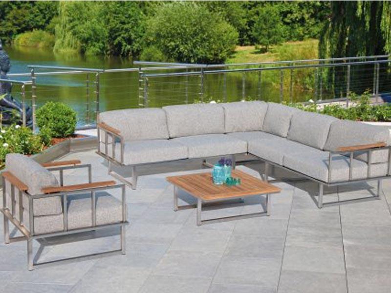 """SonnenPartner 3-Sitzer Sofa """"Lotus""""Edelstahl/Teakholzincl. Kissen"""
