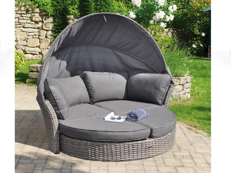 "SonnenPartner Lounge-Insel ""Andorra"", Kunststoffgeflecht in spot-grey, inkl. Sitzkissen"