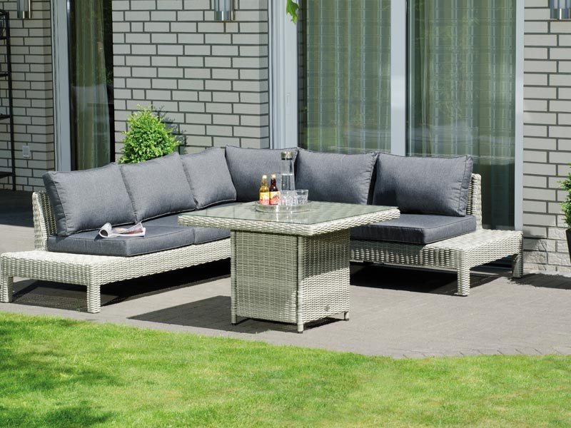 "SonnenPartner Lounge-Dining-Gruppe ""Continental""  1 Sofa 3-Sitzer, 1 Sofa 2-Sitzer, Tisch Aluminiumgestell /  Kunststoffgeflecht rustic-vintage incl. Kissen,"