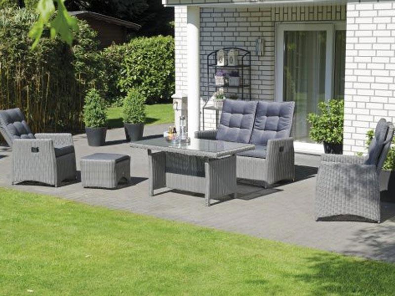 """SonnenPartner Lounge-Comfort-Gruppe """"Roseville"""" 2 Sessel, 1 Sofa, 1 Hocker, 1 Dining-Tisch Aluminiumgestell /  Kunststoffgeflecht grey-white incl. Kissen, verstellbare Rückenlehnen"""
