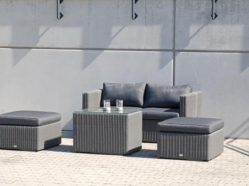 """SonnenPartner Lounge-Modular-Set """"Aura""""  Alu/Kunststoffgeflecht grey-white  inkl. Kissen Sunny Smart made by SonnenPartner"""