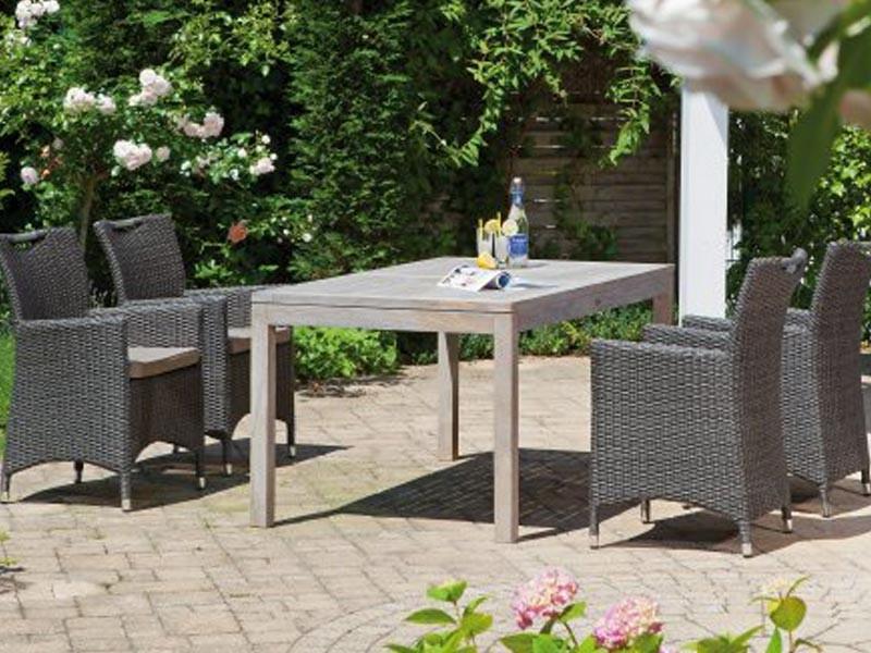 "SonnenPartner Sessel ""Cardinal"" Alu/ Kunststoffgeflecht vintage-grau incl. Sitzkissen"