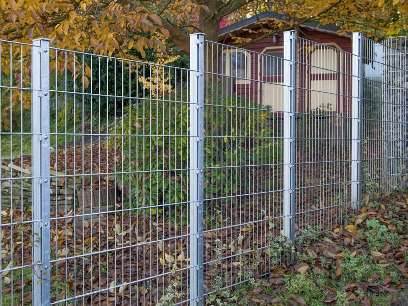 Doppelstabgitterzaun Metallzaun 8/6/8 MAX silbergrau verzinkt - Höhe: 1630 mm
