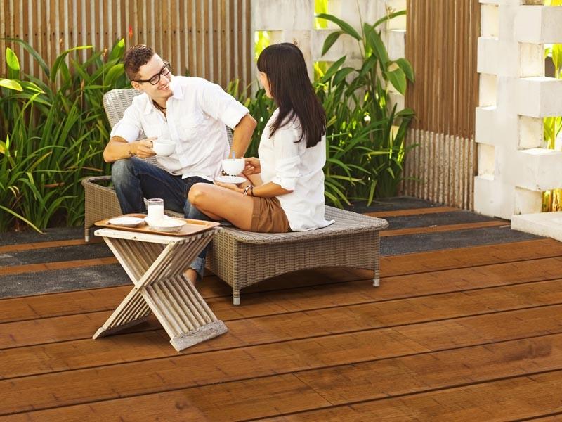 Bambus Terrassendielen Set 30qm - Farbe: Coffee