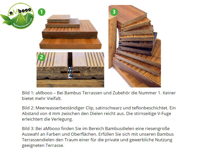 Bambus Terrassendielen Set 20qm - Farbe: Primaverde