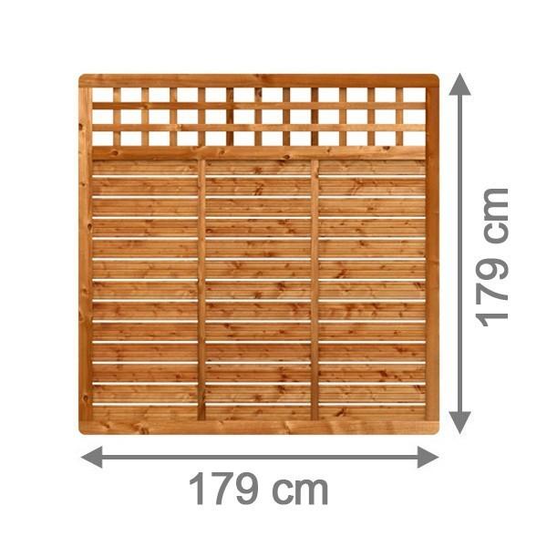 TraumGarten Sichtschutzzaun GALANT Rechteck mit Gitter braun lasiert - 179 x 179 cm