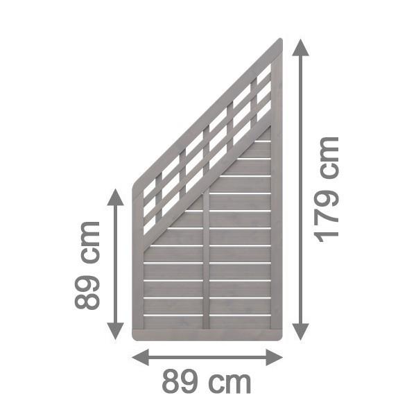 TraumGarten Sichtschutzzaun GALANT Anschluss mit Gitter grau lasiert - 89 x 179 auf 89 cm