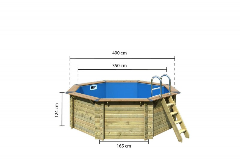 Karibu Pool Holz Swimmingpool Variante A Poolgrundkörper inkl. Vlies, Folie, kdi Holzdeck und Edelstahlleiter, 400 x 400 cm