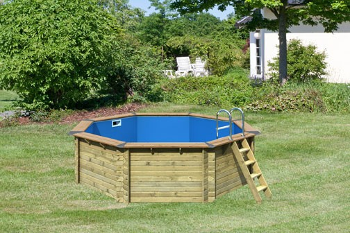 Karibu Pool Holz Swimmingpool Variante A Poolgrundkörper inkl. Vlies, Folie, kdi Holzdeck und Edelstahlleiter, 470 x 470 cm
