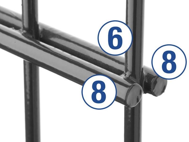 Doppelstabgitterzaun Metallzaun 8/6/8 MAX RAL 6005 moosgrün  - Höhe: 2430 mm