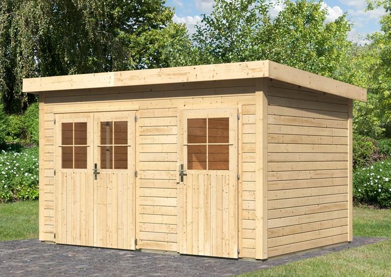 Woodfeeling Holz-Gartenhaus Flachdach Tintrup - 28 mm Systemhaus - natur