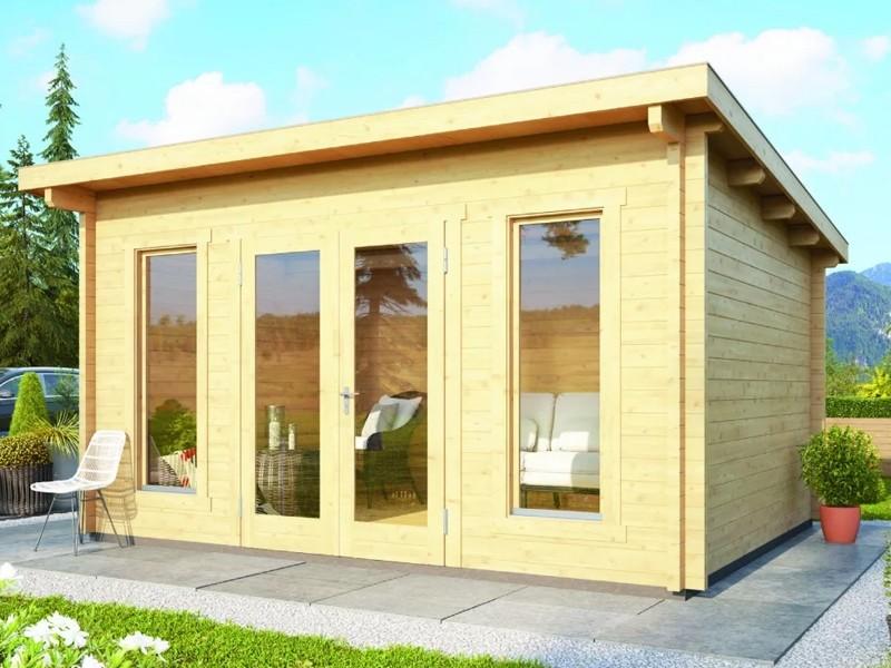 Woodfeeling Karibu Holz-Gartenhaus Stavanger 3 Blockbohlenhaus in naturbelassen (unbehandelt)