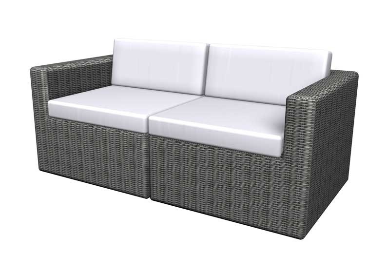 Rattan Loungegruppe Turino Balkonmöbel Set Gartensofa - 2-teilig - dunkelgrau/grau