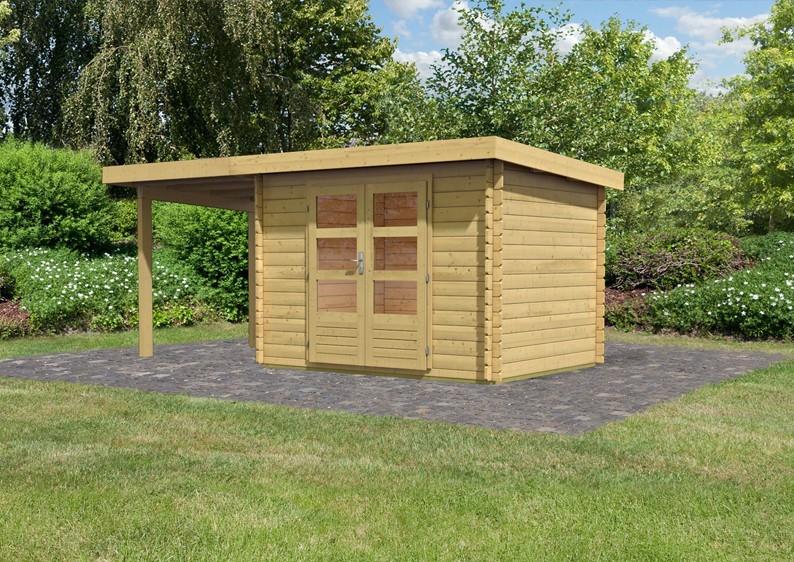 Woodfeeling Holz-Gartenhaus Pultdach Bastrup 3 - 28 mm Blockbohlen mit 2 m Schleppdach