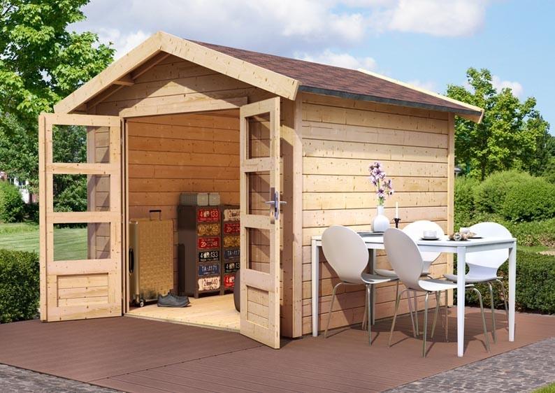 Woodfeeling Holz-Gartenhaus Tastrup 7 Satteldach 28 mm System - natur