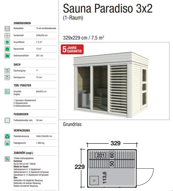 Wolff Finnhaus Gartensauna Saunahaus Sauna Paradiso 3x2 (1-Raum) - Design-Saunahaus