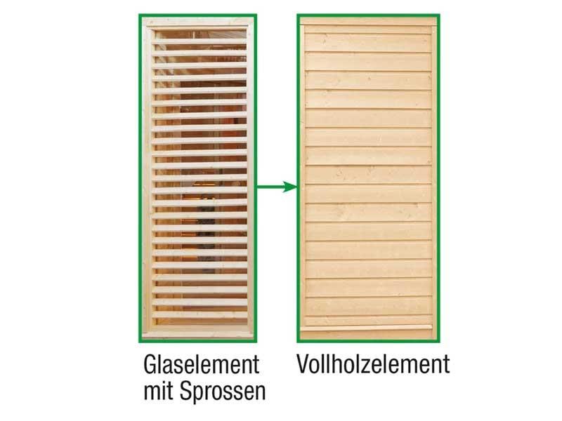 Wolff Finnhaus Sauna Paradiso: Tausch Sprossenwand gegen Vollholzwand