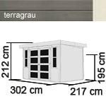 Karibu Holz-Gartenhaus Mühlendorf 4 mit Anbaudach 2,40m - 19 mm Schraub-/Stecksystem - terragrau