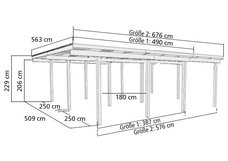 Karibu Holz Doppelcarport Eco 2 mit kleinem Abstellraum - kesseldruckimprägniert