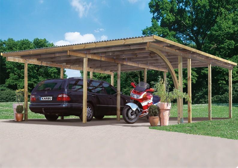 Karibu Holz Doppelcarport Eco 2 mit großem Abstellraum - kesseldruckimprägniert