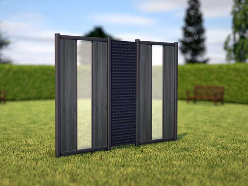 TraumGarten Sichtschutzzaun WPC/ALU Komplettset aus Serie Flow und System WPC anthrazit -  ca. 1,80 m