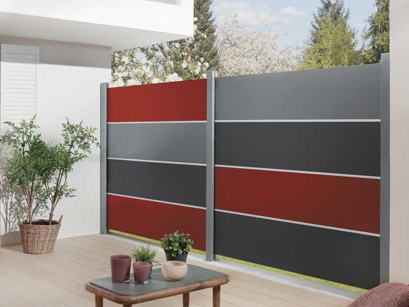 TraumGarten Sichtschutzzaun SYSTEM BOARD XL Aluminium Schiefer Einzelprofil 179 x 45 cm