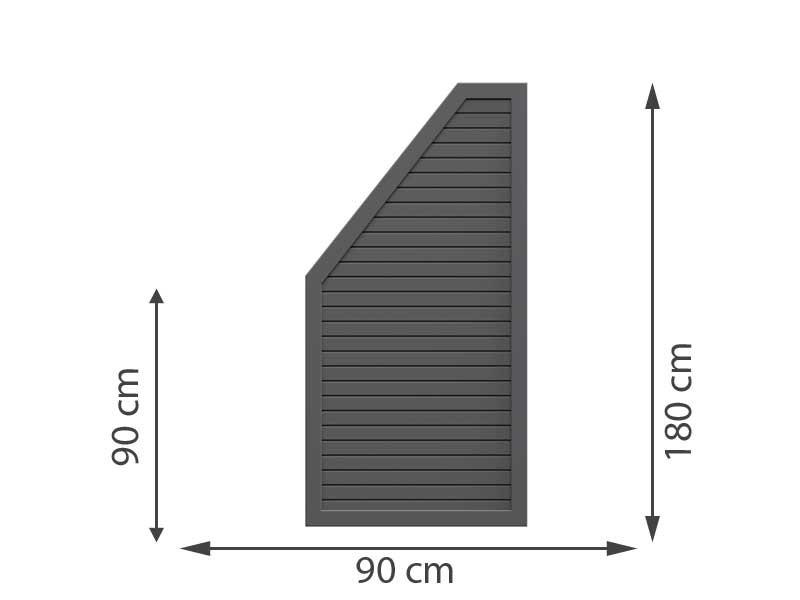 TraumGarten Sichtschutzzaun Metall DESIGN RHOMBUS Anthrazit Anschluss links 90 x 180 auf 90 cm