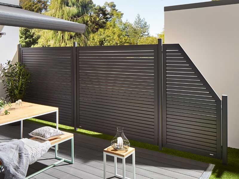 TraumGarten Sichtschutzzaun Metall DESIGN RHOMBUS Anthrazit Anschluss rechts 90 x 180 auf 90 cm