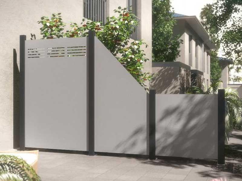 TraumGarten Sichtschutzzaun System Board Aluminium Rechteck titangrau - 90 x 90 x 0,6 cm
