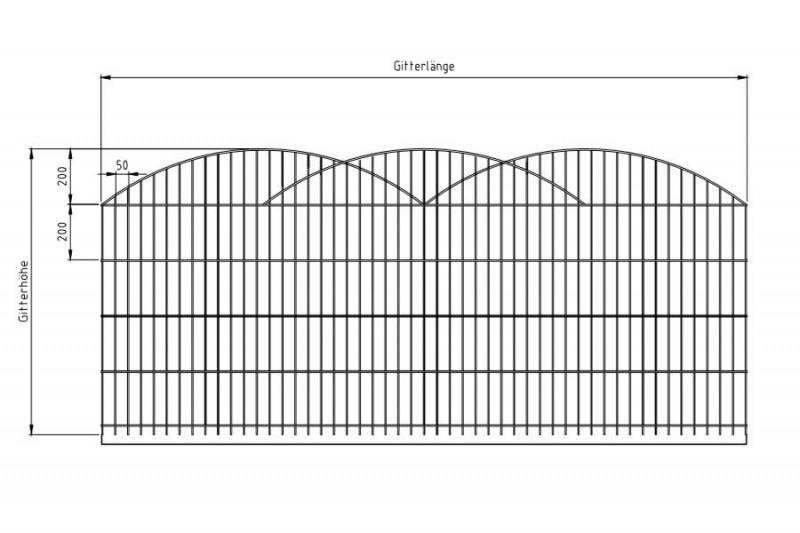 Schmuckzaun Rezidenz Innsbruck silbergrau verzinkt - Zaunfeldhöhe : 1206 mm