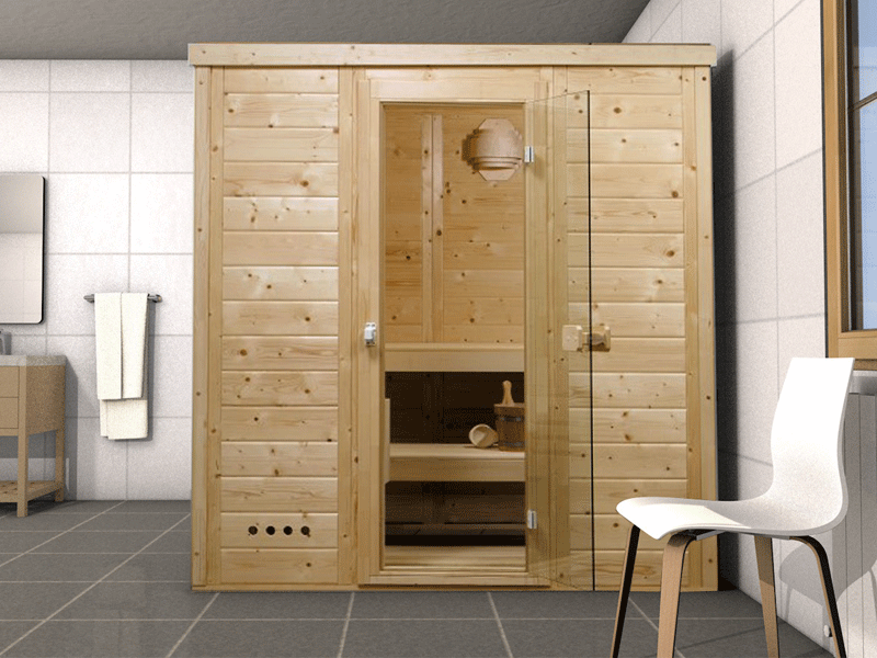 Massivholzsauna Helsinki 1 - 45mm von Garten-Freunde- 4-Eck Sauna Fronteinstieg - 197 x 136 x 205 cm