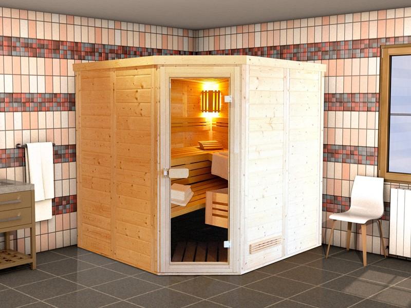 Massivholzsauna Helsinki 5 - 45mm von Garten-Freunde- 5-Eck Sauna Eckeinstieg- 197 x 197 x 205 cm