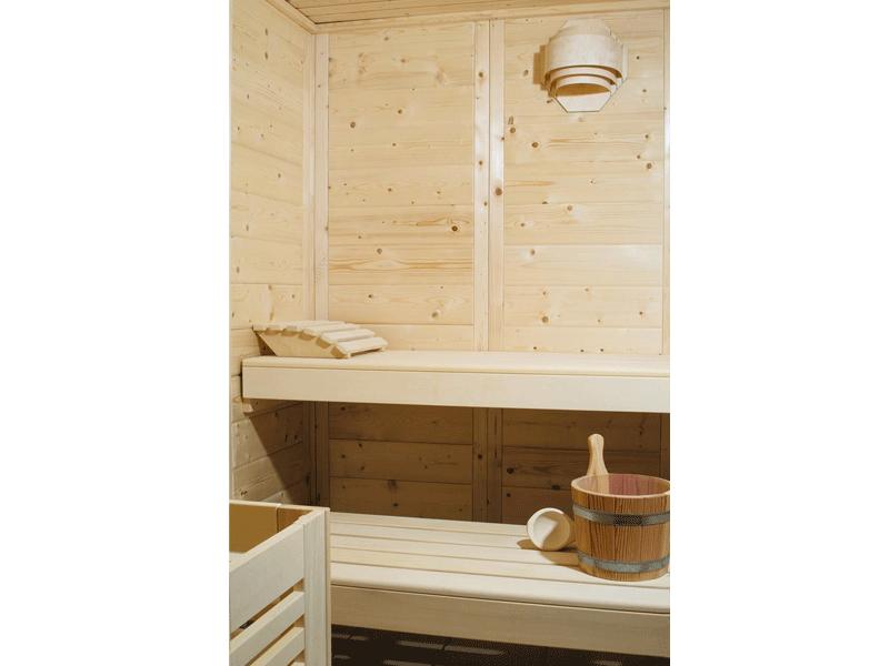 Massivholzsauna Helsinki 7 - 45mm von Garten-Freunde- 4-Eck Sauna Fronteinstieg - 232 x 197 x 205 cm