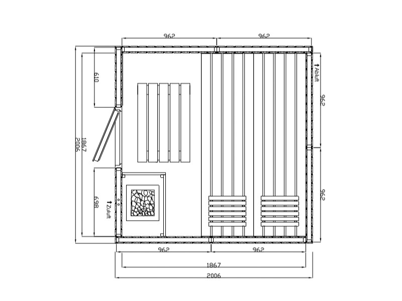 Elementbausauna Norway 4 - 70mm von Garten-Freunde - 4-Eck Sauna Fronteinstieg - 201 x 201 x 198 cm